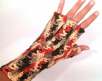 Crochet Fingerless Gloves - Rose Garden