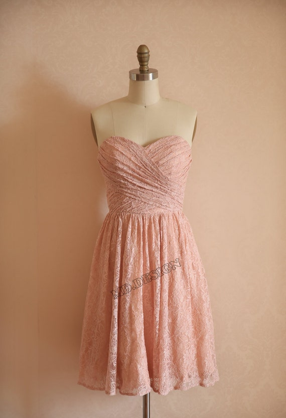 Dusty rose pink peach lace bridesmaid dress prom dress by for Rose pink wedding dress