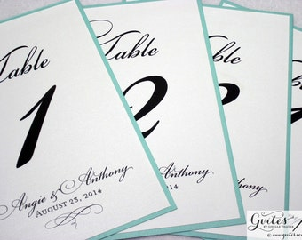 Wedding table numbers, turquoise blue, silver table numbers, personalized wedding signs, metallic finish, elegant, printed table numbers.