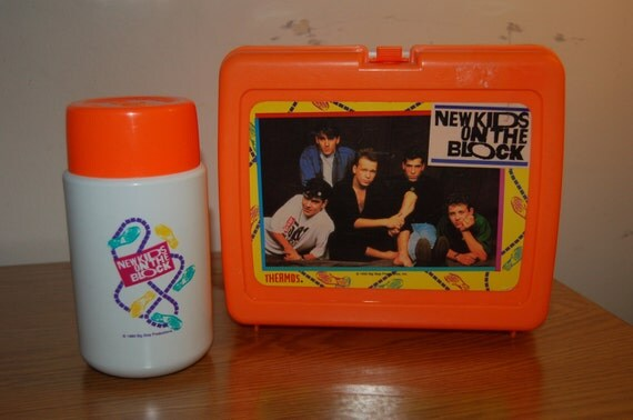 New Kids On The Block orange lunch box with Thermos