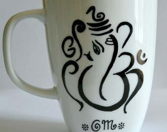 Ganesh Om Coffee Mug - Ganesha Aum Tea Cup - Namaste - Omkara - Hand Painted 10 oz