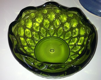 Vintage Green Glass Compote~1970s