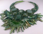 In the Green- Bead Embroidered Necklace
