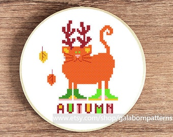 Autumn cat - PDF counted cross stitch pattern - Cats calendar - Fall cross stitch