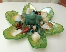 PROSPERITY ABUNDANCE CRYSTAL House Kit - Center Piece **Gorgeous Green Flower  design**
