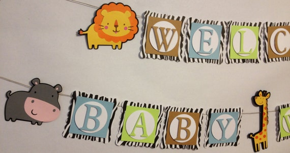 Welcome Baby Banner Party Decorations Safari Theme Custom