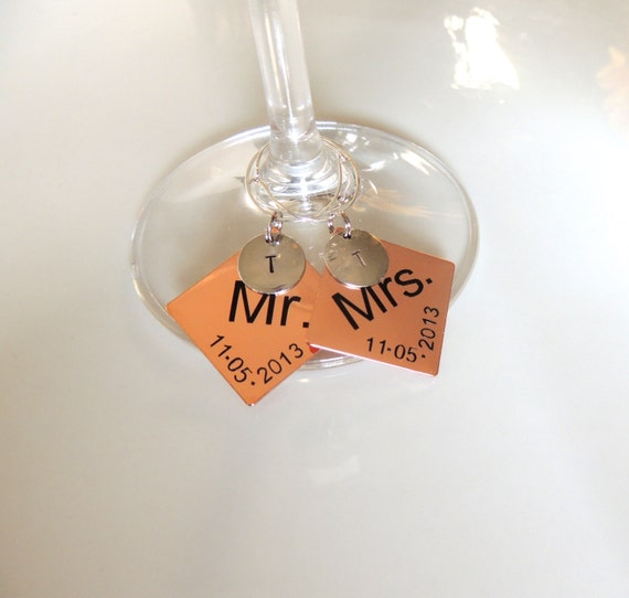 Mr. & Mrs. Wedding Personalized Wine Glass Charm by ProCRAFTing