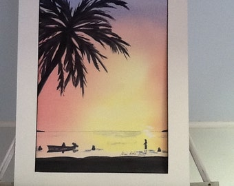 "Original water color painting 12 x 16 called ""Sunset in Florida"", signed"