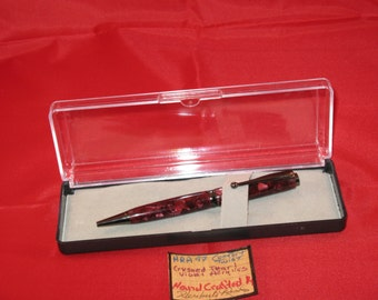 Handcrafted Comfort slimline twist pen (Crushed Pearl Violet Acrylics with a gun metal finish)  with Plastic Pen Box
