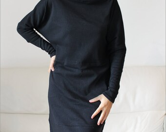 sweatshirt dress, long sleeve dress, woman sweatshirt, cotton jersey dress, loose fitting dress, cowl neck dress, black dress, winter dress