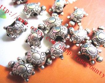 wholesale 100pcs 15x10mm tibetan silver turtle big hole spacer beads