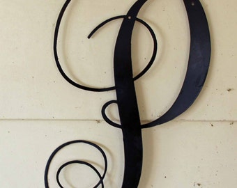 """22 inch Black Script Metal Letter """"P"""" Door or Wall Hanging"""