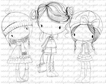 Three Little Autumn Girls