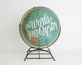 World Globe 12in Vintage Repurposed, Wedding Decor, Typography, Travel Nursery, Adventure Quote - WildandFreeDesigns