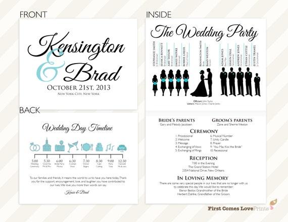 pdf silhouette wedding program the kensington half sheet folded design