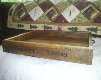 4TH JULY SALE...Larger Wood Serving Tray... Breakfast Serving Tray ...Rustic Wood Serving Tray