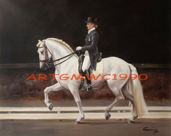 Sold - A Lady and her horse Equestrian Riding Rider Dressage - Oil on canvas - original painting