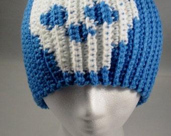 Crochet Blue Skeleton Skull Skully Beanie Hat - Men, Women, Teens and Kids