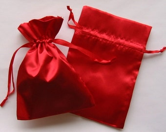 100 Red Satin Favor Bags, For Wedding Favors, Baby Shower, Jewelry, Gifts