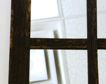 SALE  Antique barnwood window mirror 16x28 (6 Panes)