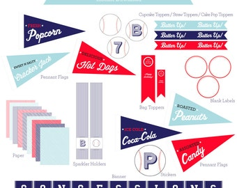 Baseball Party Instant Download / Pennant Flags / Baseball Printables / Baseball Printable PDF / Baseball Favor / Baseball Candy Table / Kit