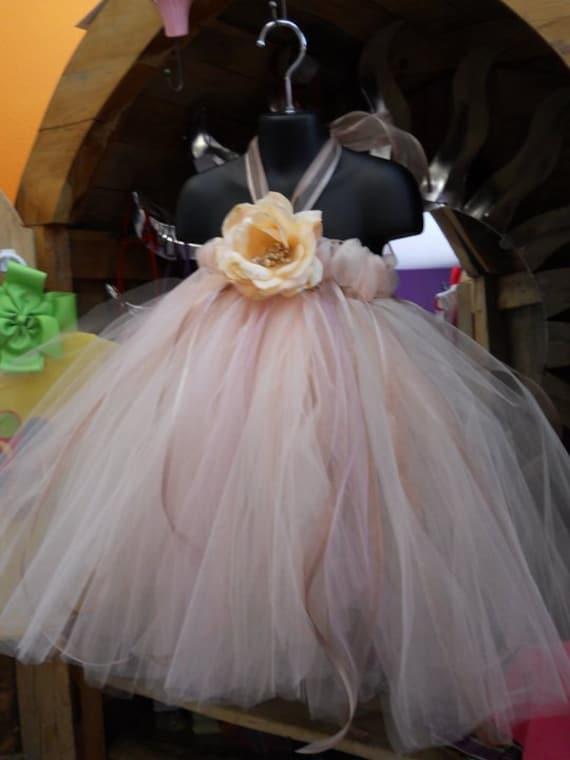 Black friday sale elegant peach tutu flower girl dress for Black friday wedding dress