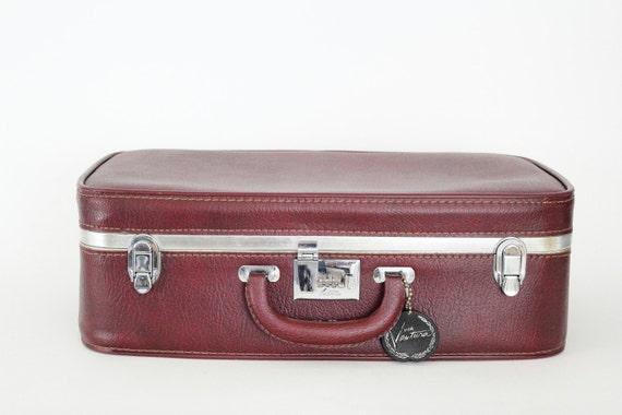 Mid Century Vintage Burgundy Medium Hard Leather Suitcase/Luggage with Combination Lock