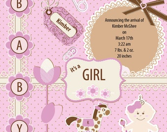 Customized Birth Announcement - baby girl