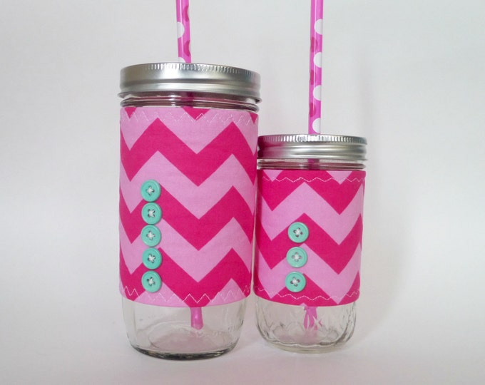 2 Mason Jar Tumblers  24oz 12oz s Pink Chevron Insulated Sleeve w BPA Free Straw - mother daughter set