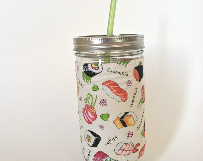 Sushi Love 24oz Mason Jar Cup Tumbler  Insulated Fabric Cozy w BPA Free Straw - Travel Mug Great Gift