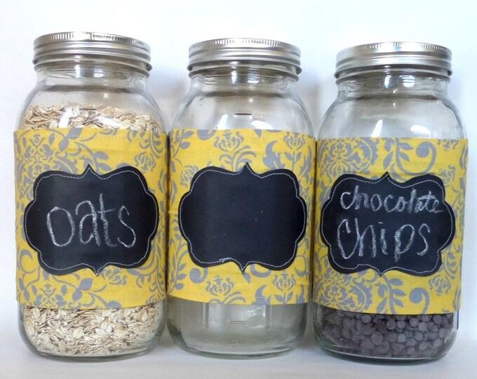 Set of 3 Grey and Yellow Damask Chalkboard Mason Jar Canister Half Gallon