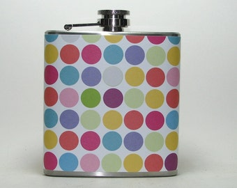 Colorful Polka Dot Print 6 or 8 oz Size Stainless Steel Liquor Hip Flask Flasks Gift Idea