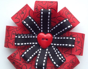 Red and Black Hearts Hair Bow