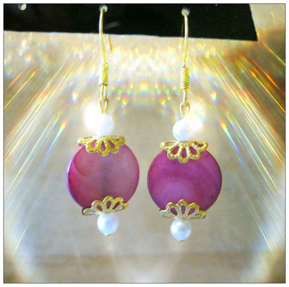 Handmade Gold Earrings with Pink Shell & White Pearls by IreneDesign2011