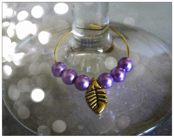 Handmade Gold Wine Glass Charms by IreneDesign2011