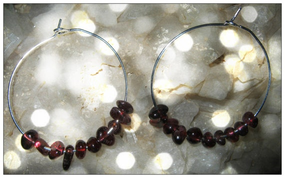 Handmade Silver Hoops Earrings with Garnet by IreneDesign2011