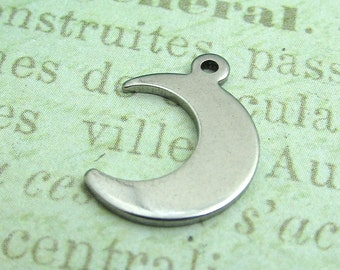 Medium Moon Charm - Stainless Steel Moon Charm, Stainless Steel Jewelry Pendant, Set of 5 SST Findings 16x12x1mm Silver Moon Charm (043)