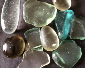 Large pieces of Sea Tumbled Glass