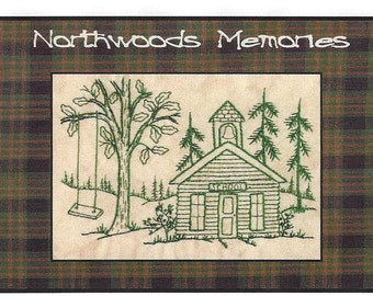 Northwoods Memories School House - Redwork Hand Embroidery Pattern by Beth Ritter - Instant Digital Download