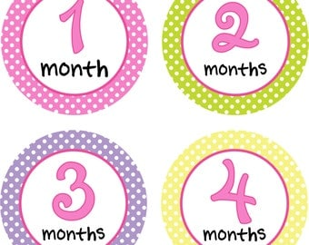 Baby Month Stickers Baby Monthly Stickers Girl Monthly Shirt Stickers Pastel Polka Dots Shower Gift Photo Prop Baby Milestone Sticker