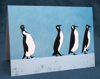 Rubbernecking Penguins Greeting Card