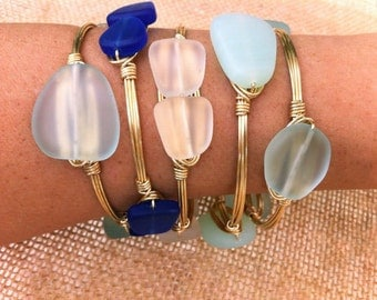 Clear Sea Glass Wire Wrapped Gold Bangle Stackable Bracelet