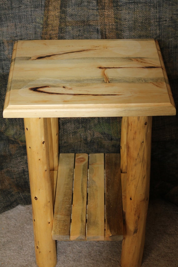 Rustic Log Traditional Top End Table Night Stand Cabin