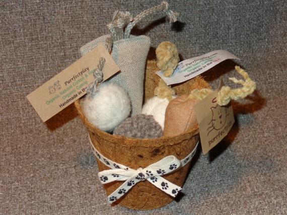Small Organic Cat Toy Basket - 6 Piece