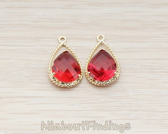 FST111-G-RU // Glossy Gold Plated Double Teardrop Framed Ruby Stone Pendant, 2 Pc