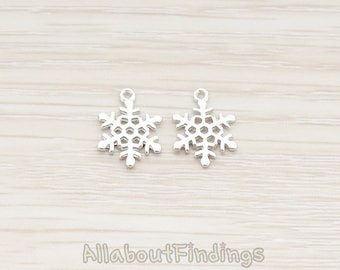 PDT379-01-MR // Matte Original Rhodium Plated Small Snow Flake Pendant, 2 Pc