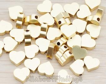 BDS919-02-MG // Matte Gold Plated Sharpen Heart Metal Bead, 6 Pc