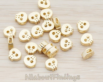BDS928-MG // Matte Gold Plated Tiny Skull Metal Bead, 4 Pc
