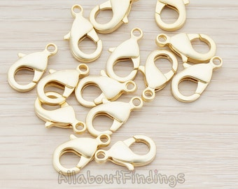 BSC152-MG // Matte Gold Plated Large Size Lobster Clasp, 6 Pc