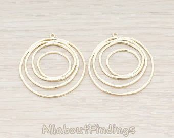 PDT556-MG // Matte Gold Plated Round Swirl Pendant, 2 Pc